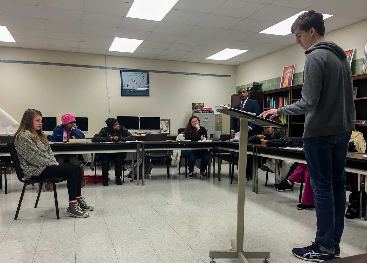 MSMS Mock Trial team practices in preparation for the regional competition.
