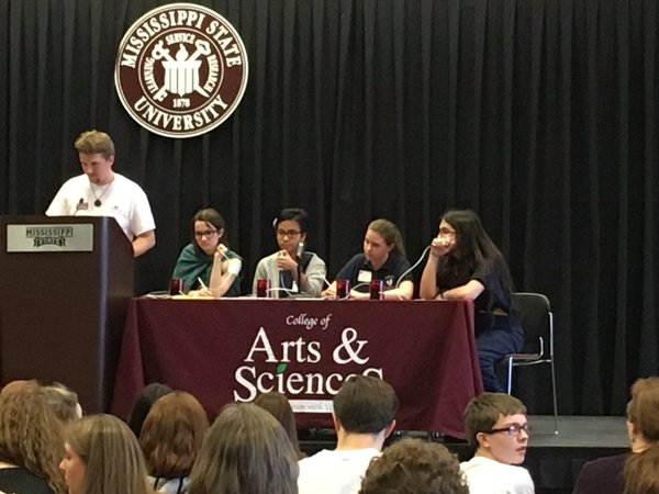 (from left to right). Junior Sutton Klein, senior Joy Carino, junior Rachel Watson, and junior Uriah Jenkins competing in the final round of Cretamen against Jackson Prep.