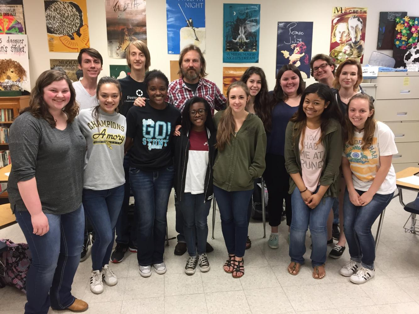 The first class of Creative Writing students pose with Micheal Farris Smith during his visit to class.