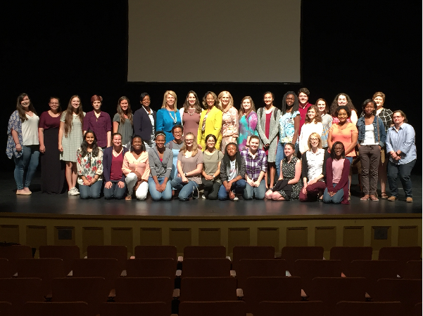 MSMS+students+and+Dr.+Hester+pose+with+the+members+of+the+panel.