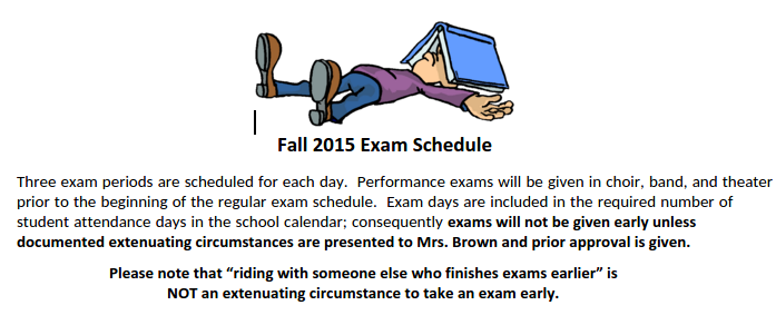 The beginning header of the MSMS exam schedule
