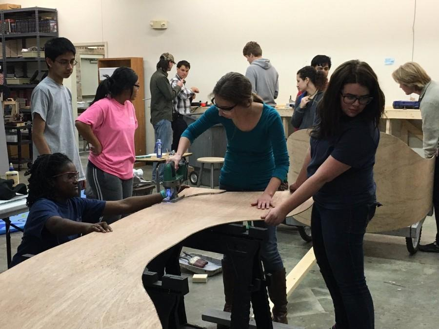 Only two days before the competition, students were busy constructing their winning one-person chariot.