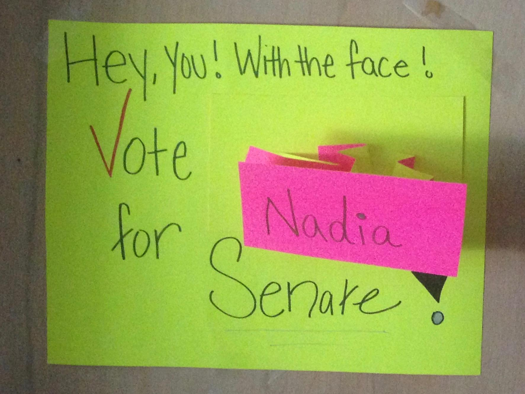 Campaign Sign for 5th Floor Junior Senator, Nadia Allen