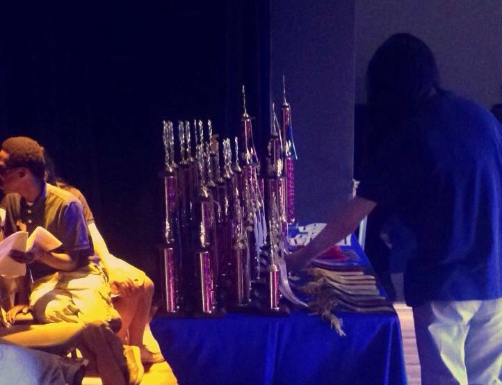 Trophies sit waiting to be presented to the winners of the MSMS Math Competition.