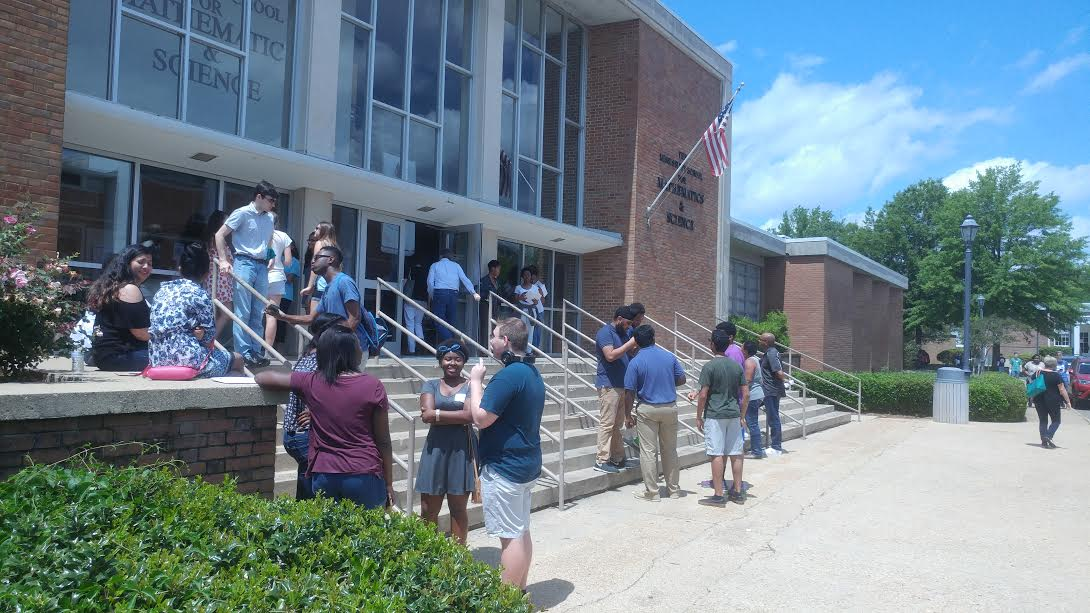 Current and future MSMS students mingle outside the doors of Hooper academic building.
