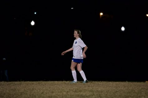 Meagan Pittman goes into position to receive the ball as the Lady Waves inch towards goal.