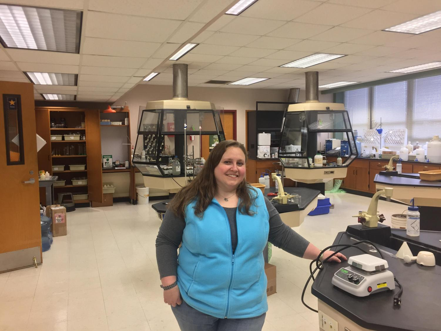 Dr. Morgan in her science lab that she utilizes during AP Chem, Analytical Chem, and other classes.