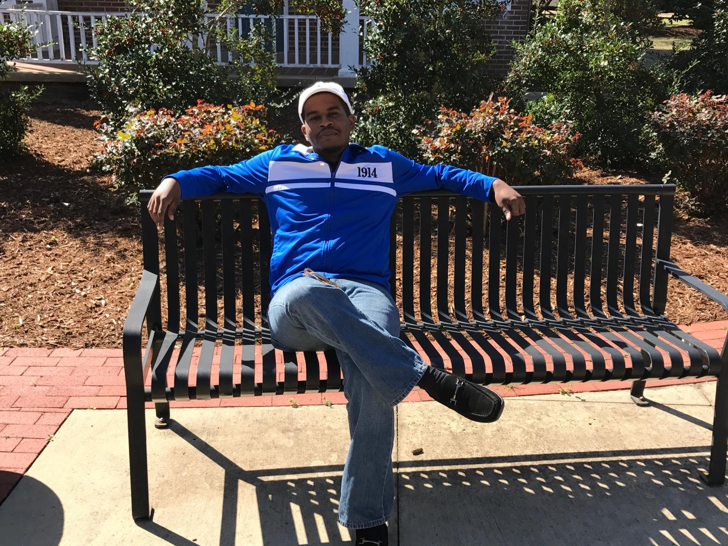 Christian Bradley relaxes on the Mississippi University for Women's campus.