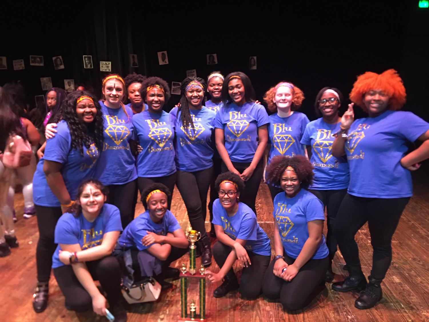 MSMS Blu Diamondz pose after winning first place in the Black History Step Show.