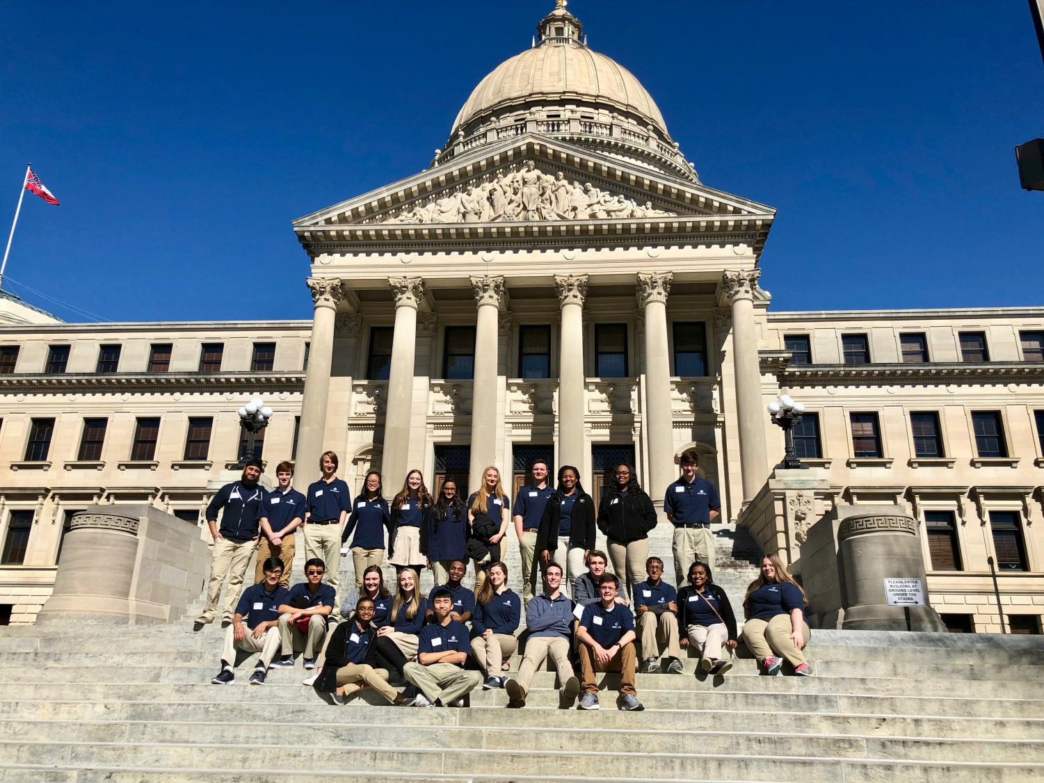 MSMS students stand on the capitol steps before departing Jackson.