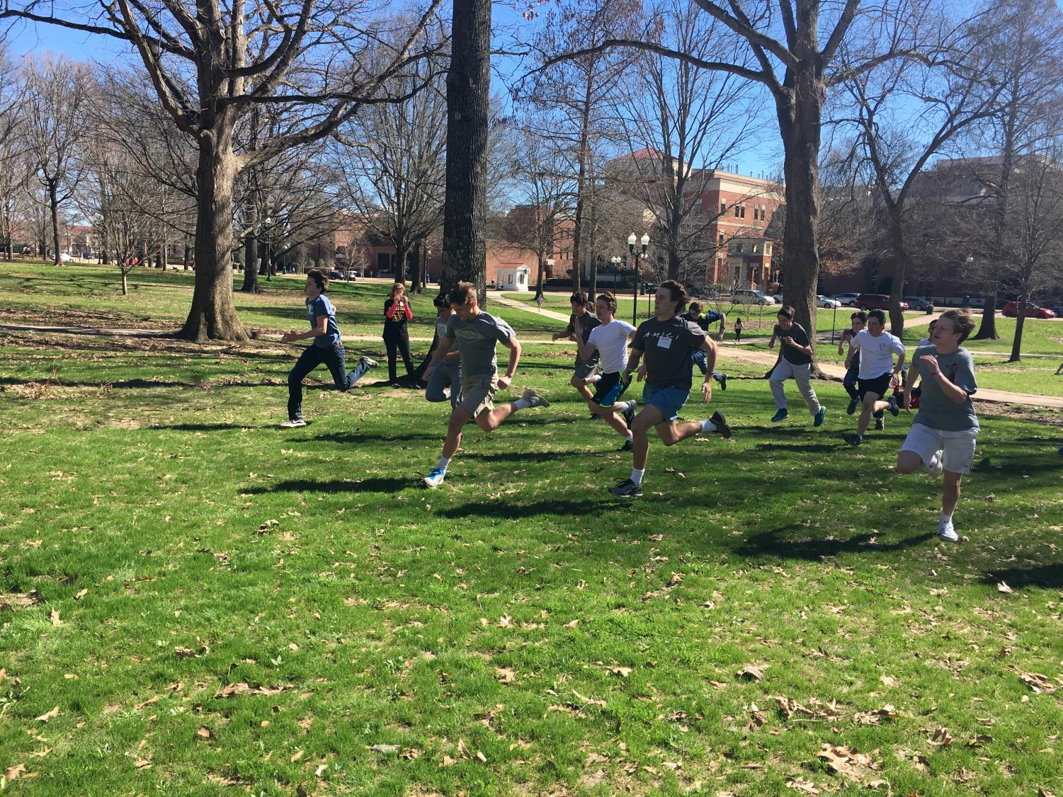 Latin students of all ages and backgrounds race during the