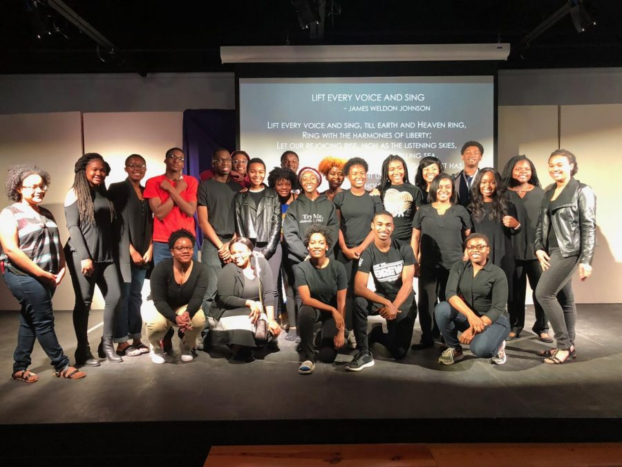 At+the+end+of+the+Black+History+Program%2C+all+of+the+participants+gathered+on+stage+for+a+group+photo.