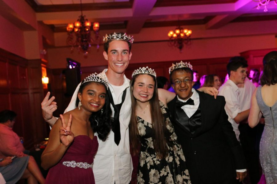 Newly+elected+prom+royalty+beam+for+a+picture.+%28From+left+to+right%3A+Mariat+Thankachan%2C+David+Thaggard%2C+Madison+Wypyski%2C+Dev+Jaiswal%29
