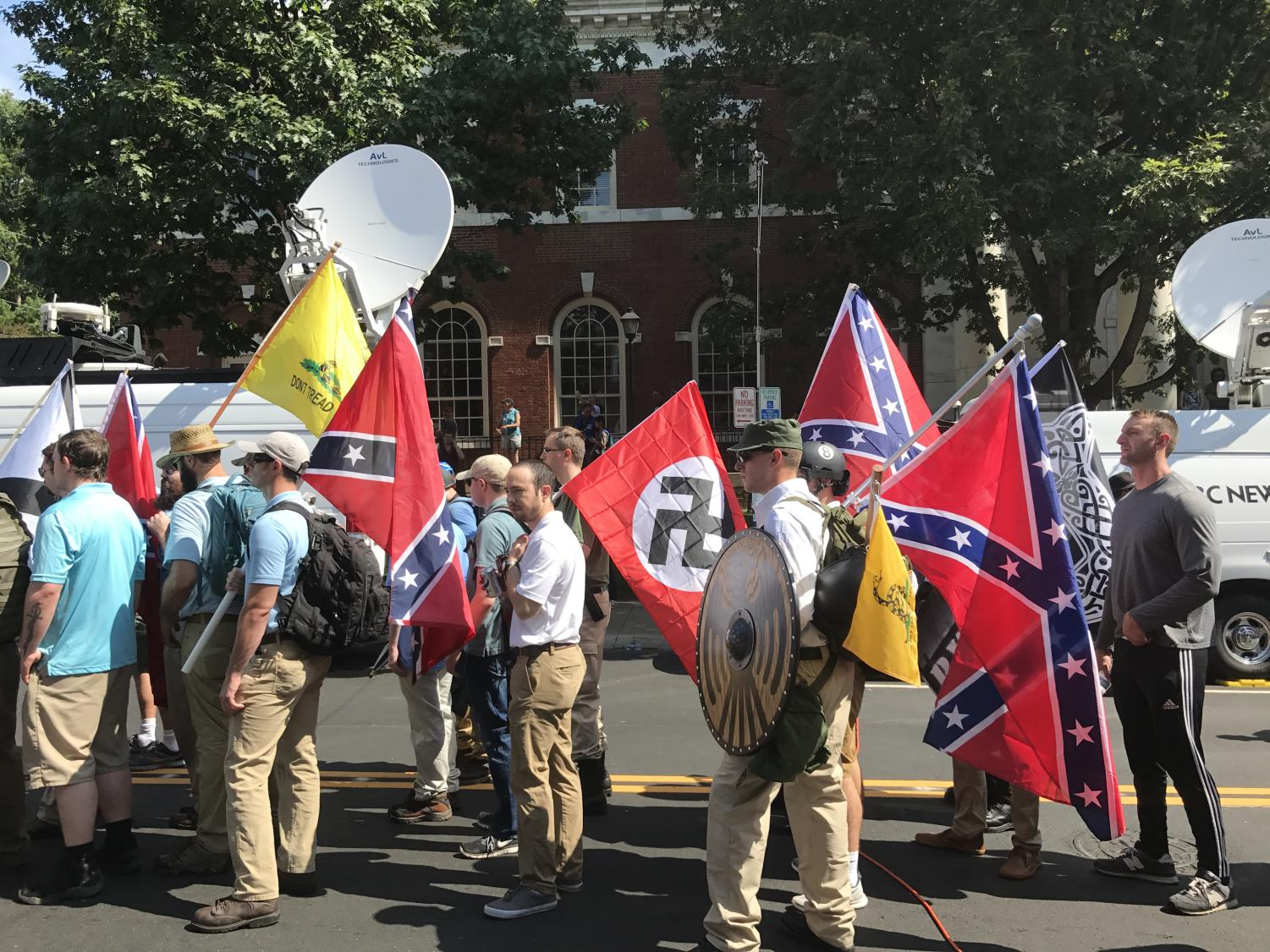 Right-wing protesters at Charlottesville, VA.