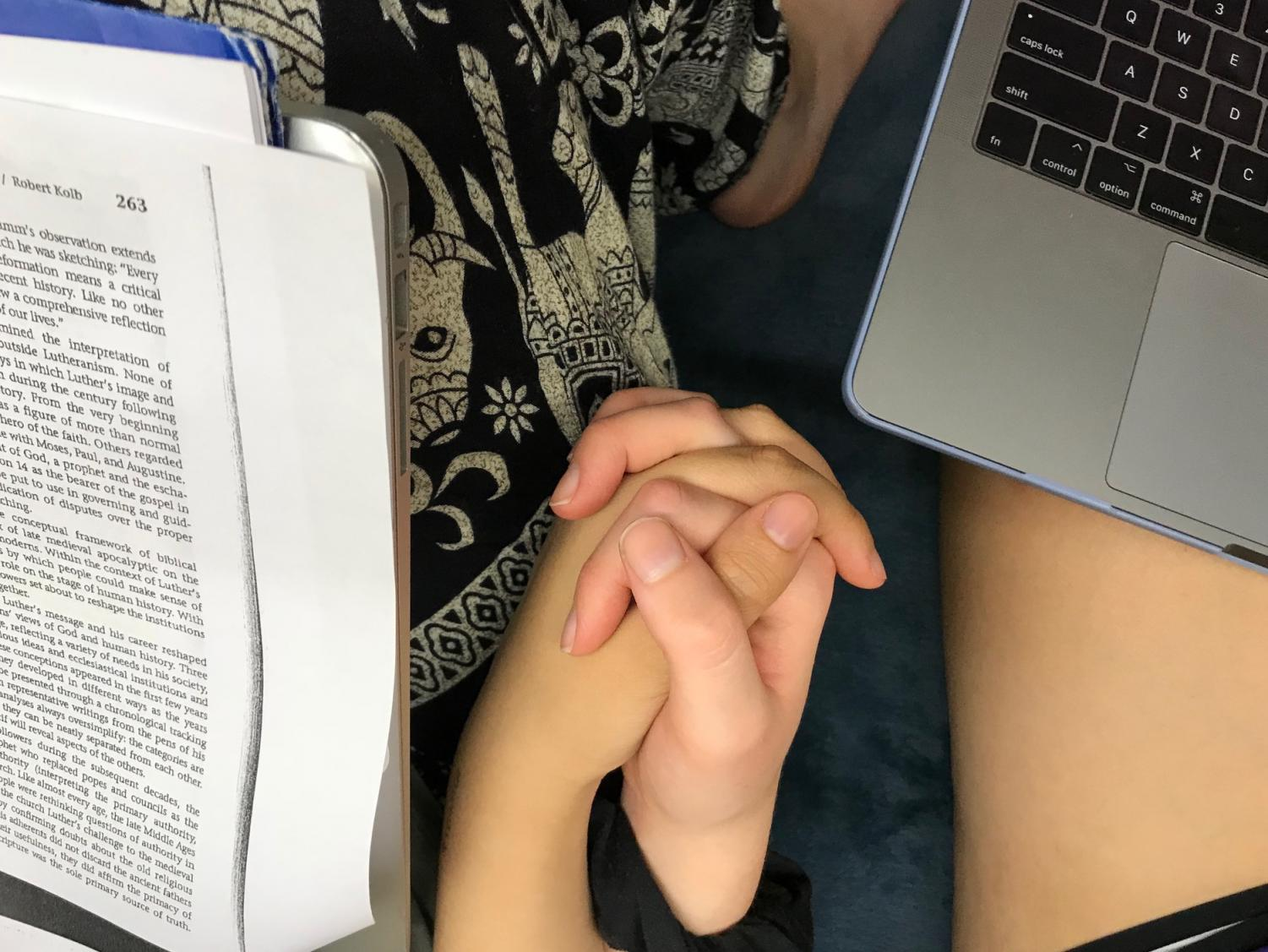Hand holding is a common sign of couple formation.