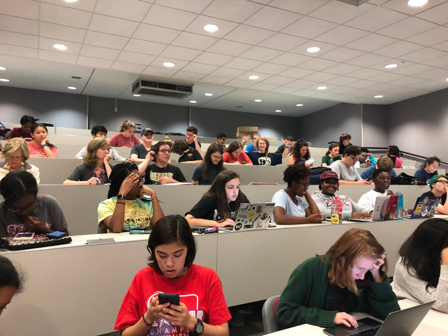 Students wait in Hooper Auditorium for the financial aid workshop to begin. The financial aid workshop was hosted by counselors Dr. Heath Stevens and Mrs. Shelle Bates Wednesday afternoon.