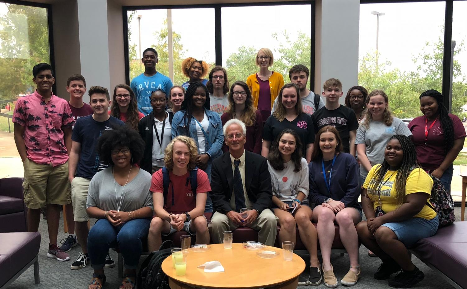 Dr. Andrew Zimbalist with MSMS students after the sports talk at Mississippi State University.
