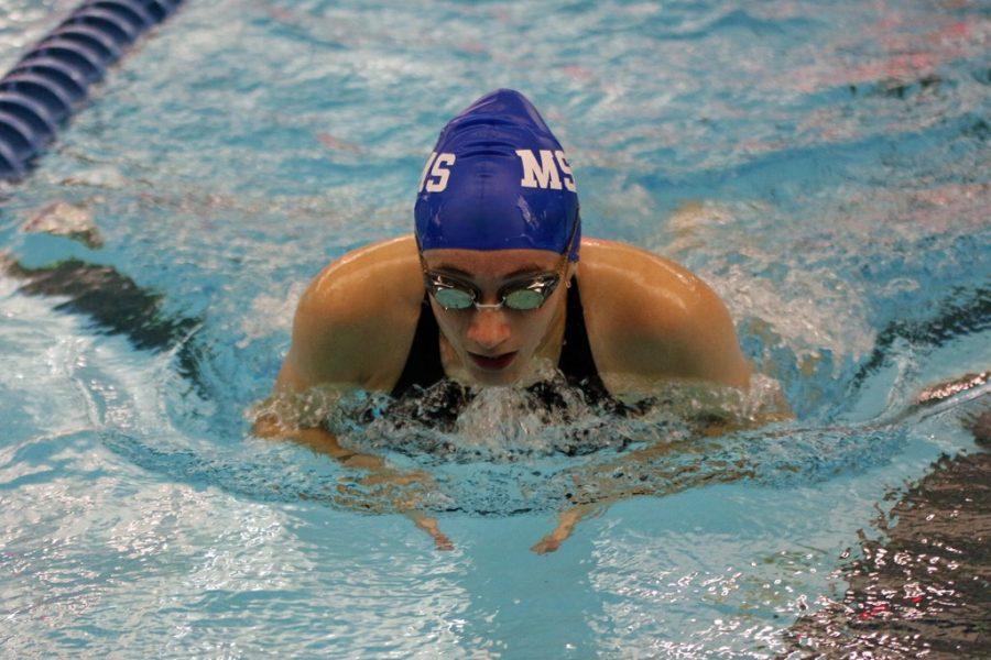 Sara Sheward finishes up the breast stroke.