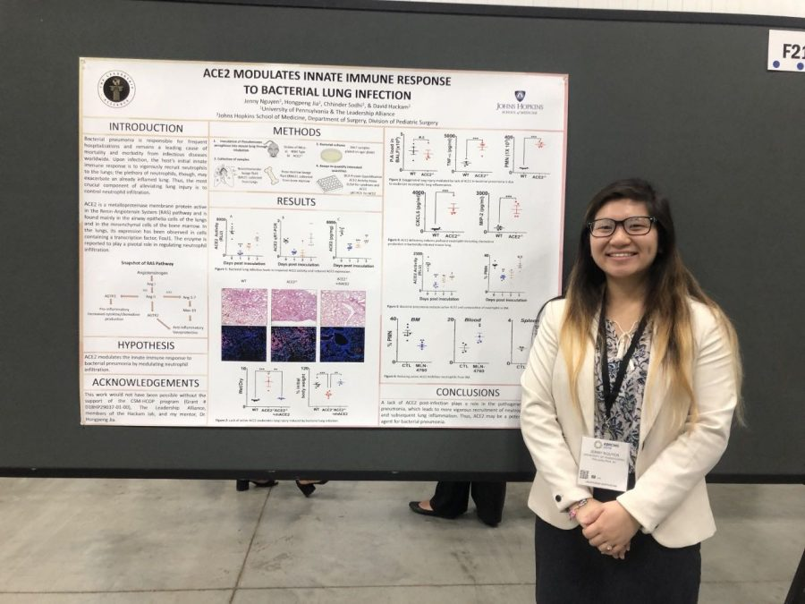 Jenny+Nguyen%2C+Class+of+2017%2C+presents+her+research+done+at+Johns+Hopkins+University+at+the+Annual+Biomedical+Research+Conference+for+Minority+Students.