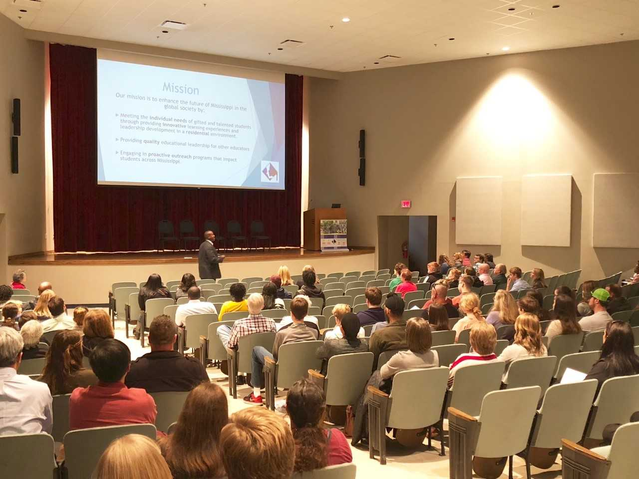 The prospective students and their families listening to Dr. McConnell's presentation.