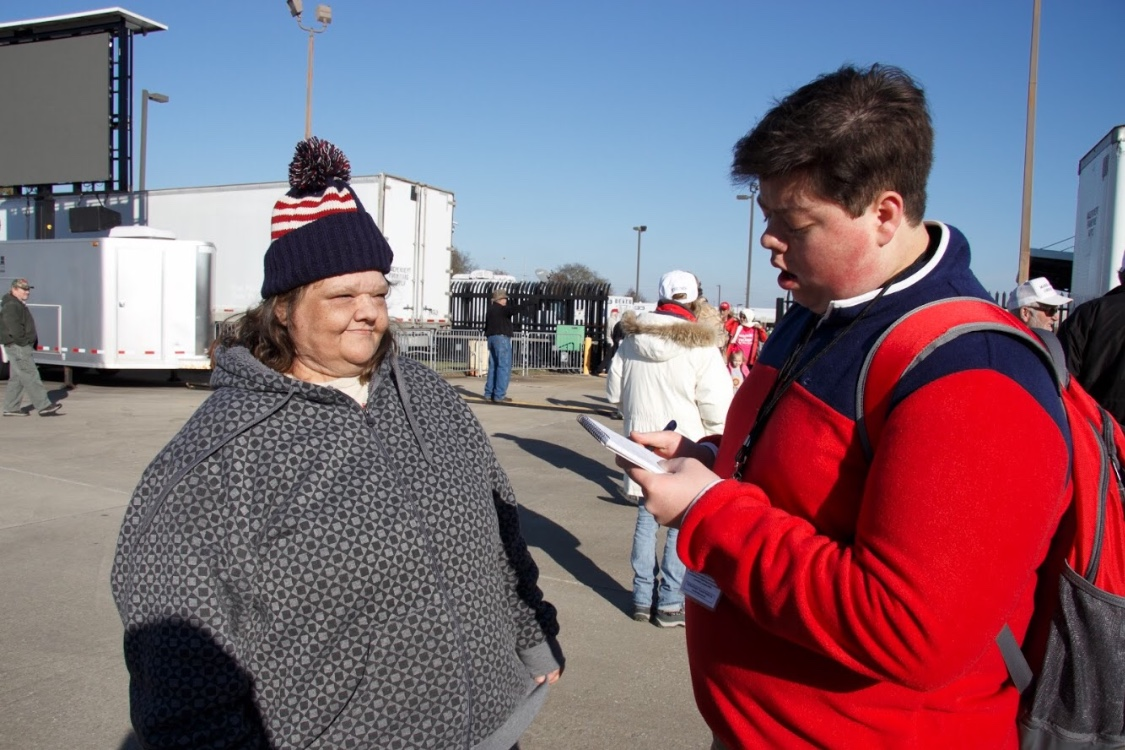 News Editor Brady Suttles interviews an undecided voter.