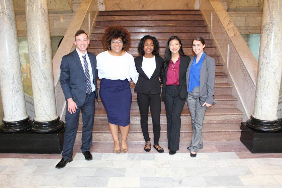 (Left to right) Juniors Elijah Dosda, Talle Wilson, Alexandra Magee, Gina Nguyen, Olivia Viguerie