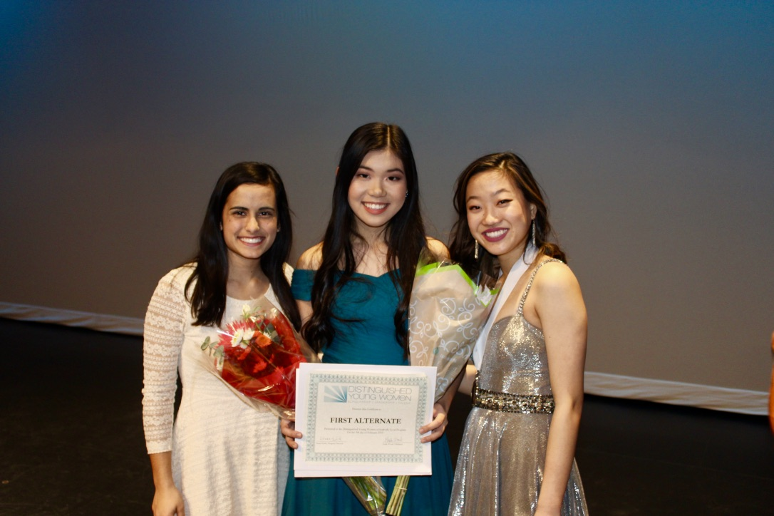 Catherine Li stands with past DYW winners, Lori Feng and Abigail Musser.