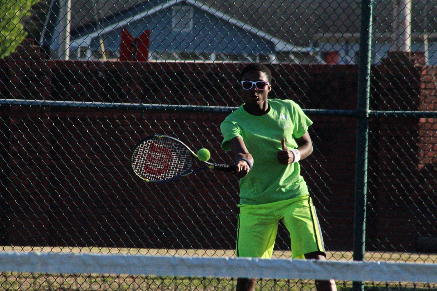 Ezra McWilliams  is one of the two Blue Waves Tennis  players advancing to State Championships in Singles Matches.