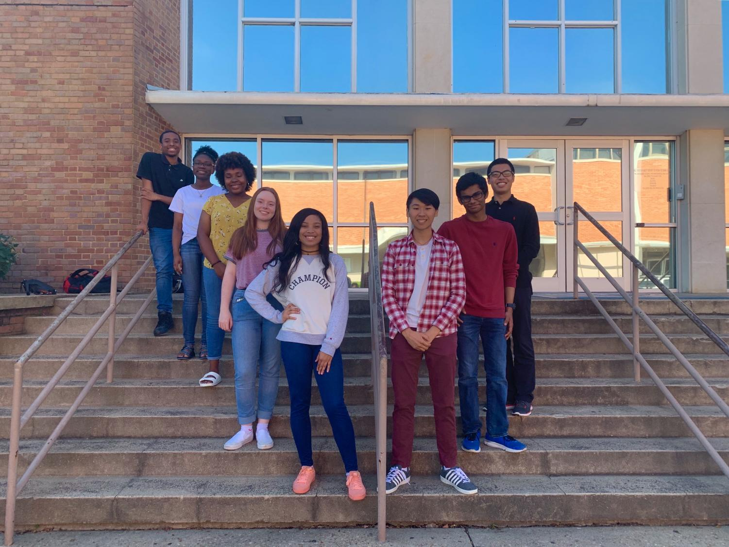 (From Left to Right) Cameron Thomas, Chloe Jackson, Alicia Argrett, Alden Wiygul, Alishia Burch, Esmond Tsang, Vayd Ramkumar, and Dennis Lee were elected to Student Body positions.