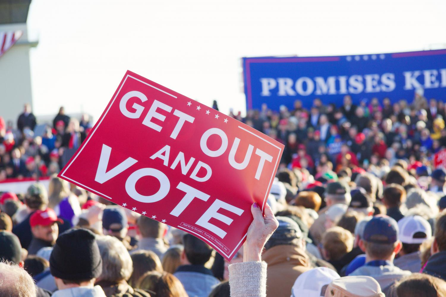 The voter registration drive is intended to encourage students to 'get out and vote.'