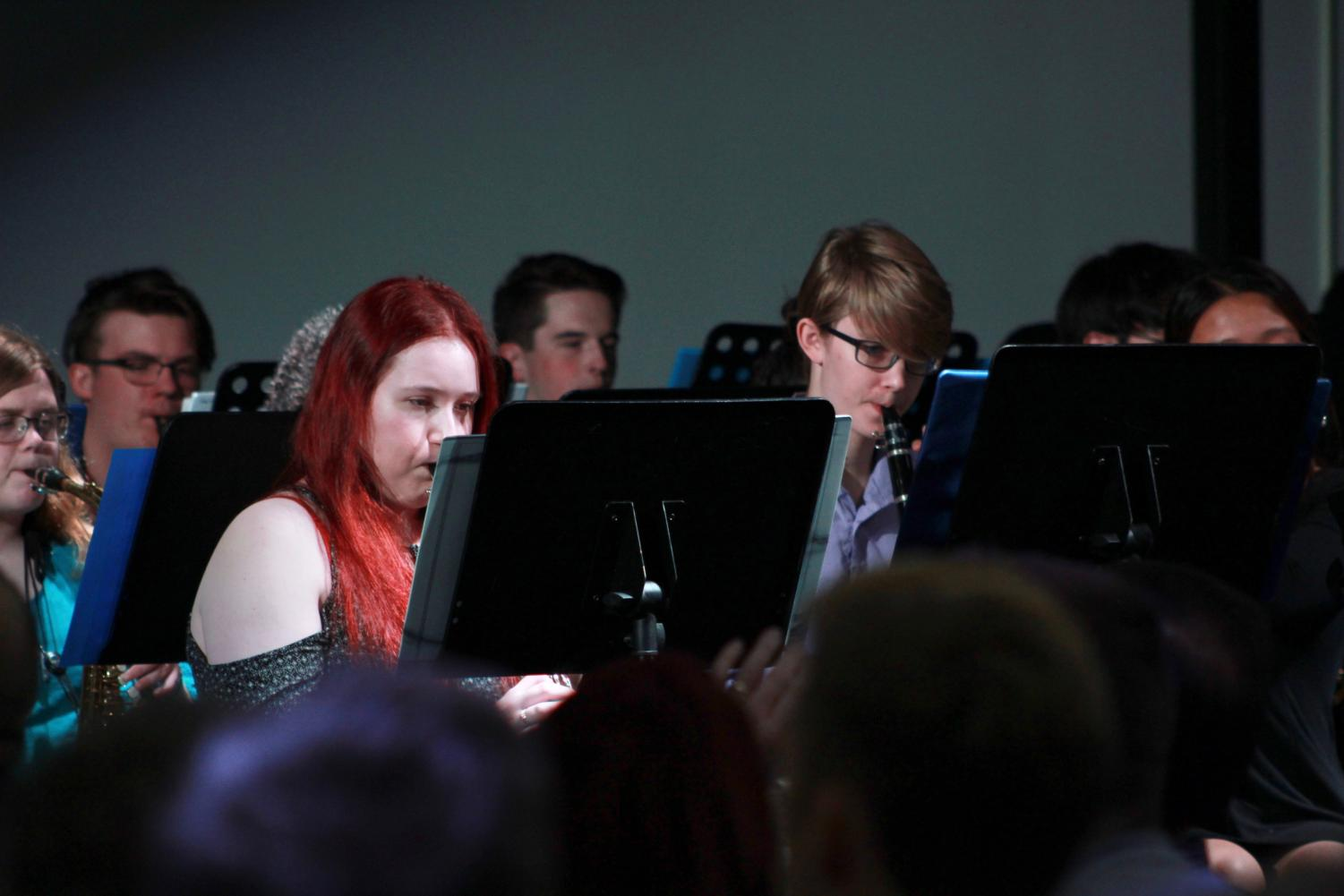 Senior Sophie Tipton and Steil perform in the Blue Notes concert.