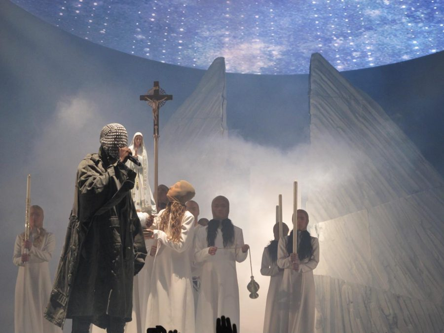 Singer%2Fsongwriter+Kanye+West+performs+on+his+Yeezus+tour+in+2013.