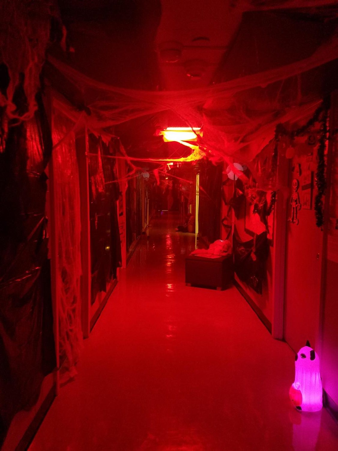 The two residence halls participated in a hallway decorating contest between the floors.