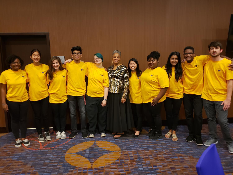 (From left to right) Aja Ceesay, Nina Vo, Amanda Anderson, Shanay Desai, Skylar Nguyen, Geneva Hamilton, Aastha Banga, Samuel Hill, David Barber