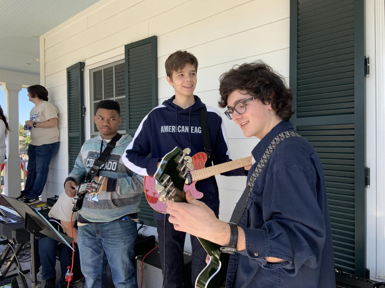 Juniors Zach Medlin (guitar), Henry Sanders (guitar), and Brayden Bailey (bass) make up some of the