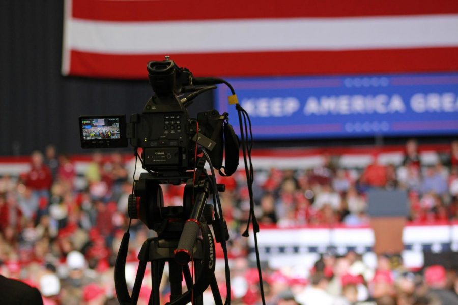 The press arrived hours before the rally began, setting up all their equipment.