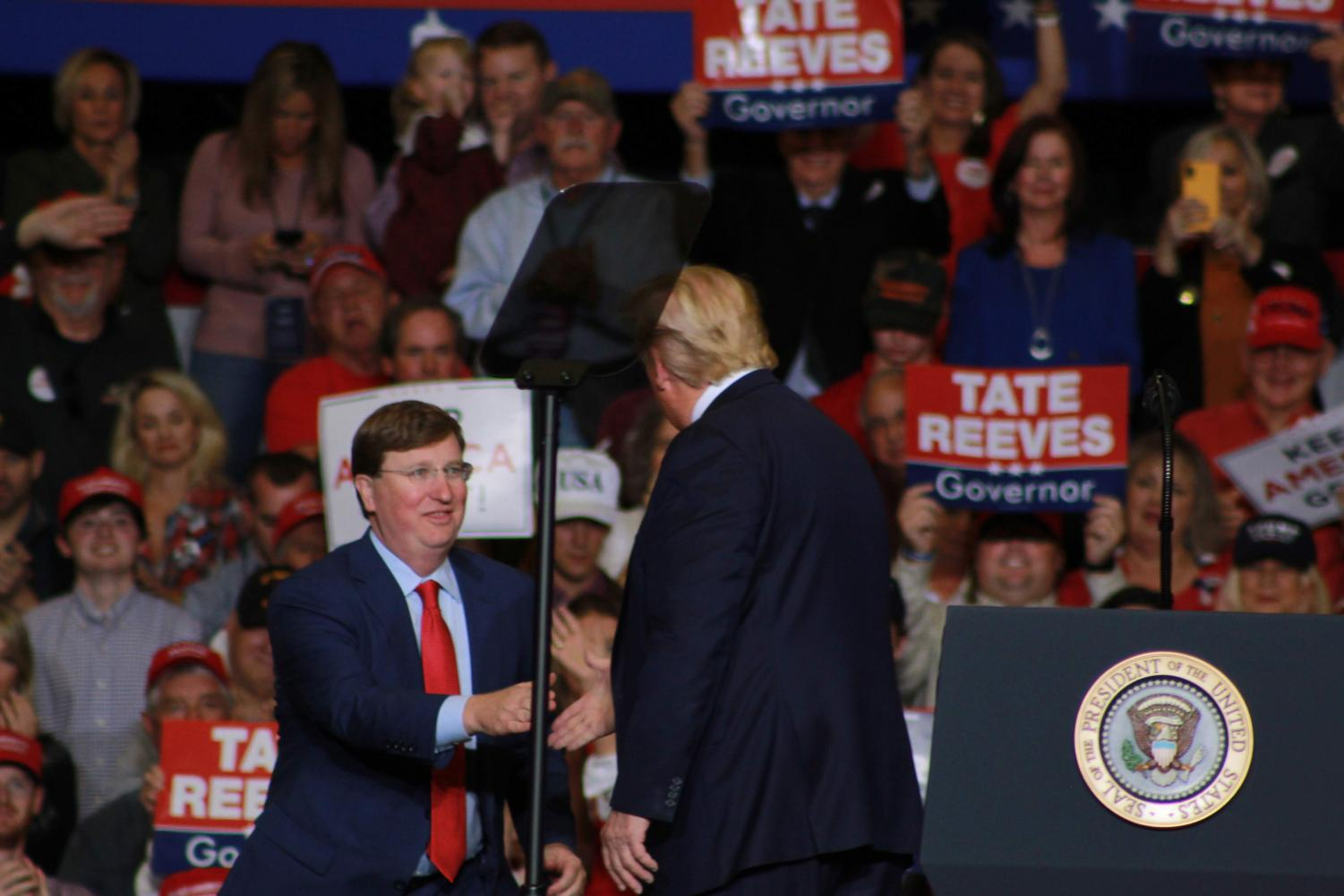 President Donald Trump welcomes the new Mississippi State Governor, Tate Reeves, to the stage to share a few words.