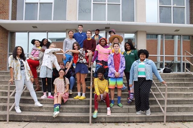 Students dressed up for Tacky Day on Monday met on the steps of Hooper to take a group picture.