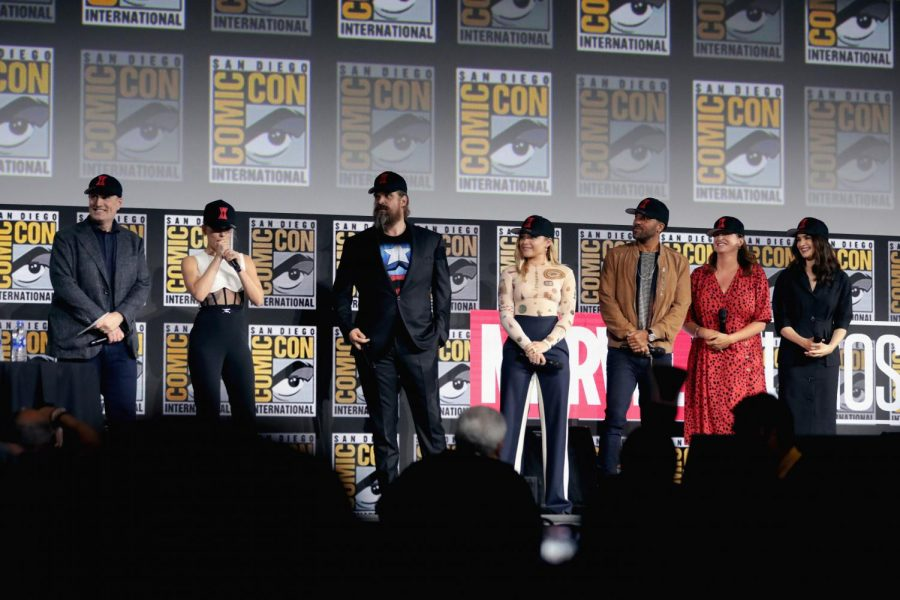 The+main+cast+of+%22Black+Widow%22+gather+in+San+Diego+earlier+this+year+for+Comic+Con.