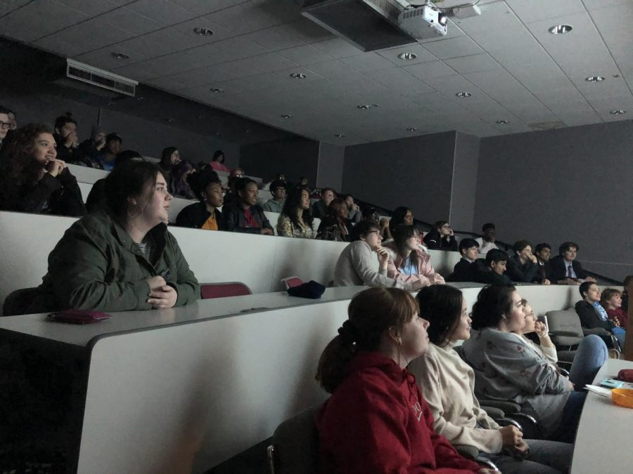 Students+filled+Hooper+Auditorium+to+watch+films+made+by+their+peers.