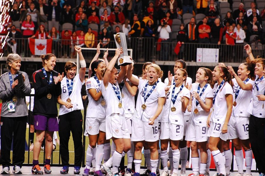 The+USWNT+celebrates+after+their+first+place+finish+in+the+2012+Olympic+Qualifiers.+