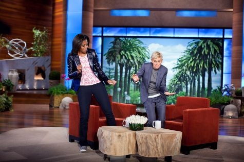 "Ellen and Michelle Obama dance on the set of her show. Recently, people have tried to ""cancel"" her over the treatment of her employees and toxic work environment."