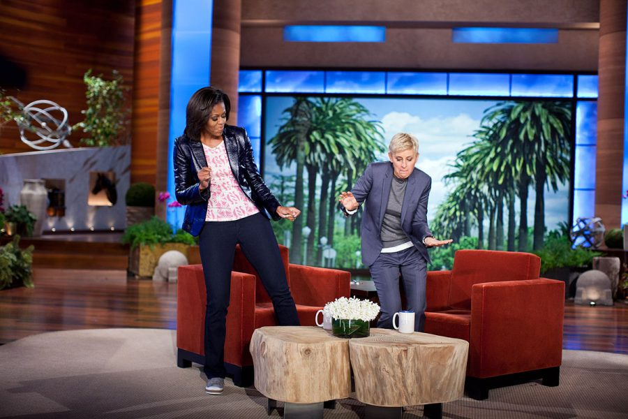 Ellen+and+Michelle+Obama+dance+on+the+set+of+her+show.+Recently%2C+people+have+tried+to+%22cancel%22+her+over+the+treatment+of+her+employees+and+toxic+work+environment.+
