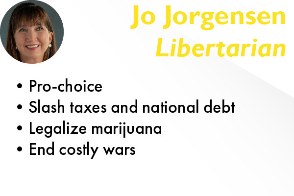 Jo Jorgensen, a Libertarian, is running for president alongside Spike Cohen.