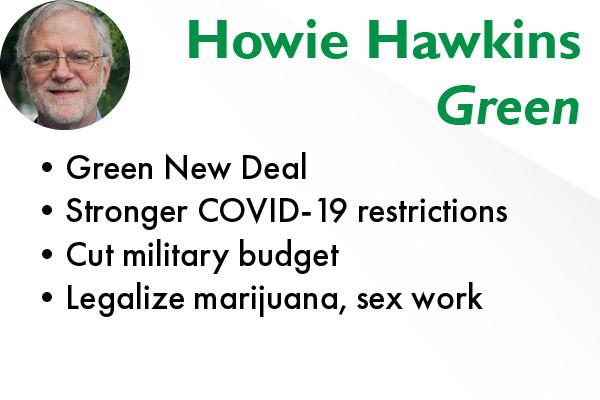 Howie Hawkins, a Green Party member, is running for president alongside Angela Walker.