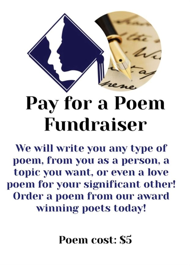 The money earned from the Pay for a Poem fundraiser will help pay for the contests Creative Writing Club members participate in.
