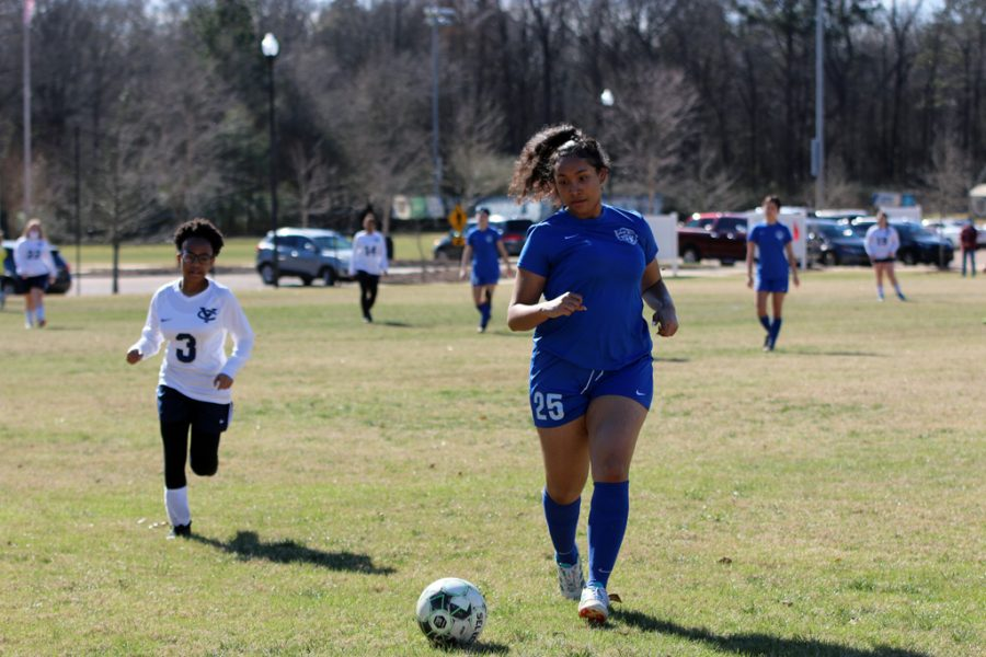 Senior Hailey Manning races to get the ball before Yazoo Country gains possession of it.