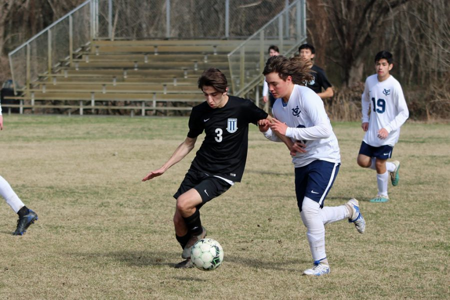 Senior Trevor Allen dribbles and escapes past a Yazoo County player.