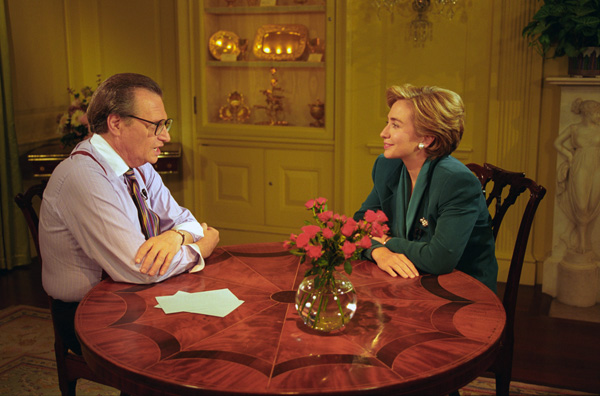 Larry King interviewed the likes of former First Lady Hillary Clinton during his career in journalism.