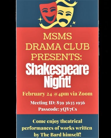 The MSMS Drama Club hosts their first ever Shakespeare Night, with dialogues from Hamlet, Macbeth, Romeo and Juliet, and Julius Caesar.